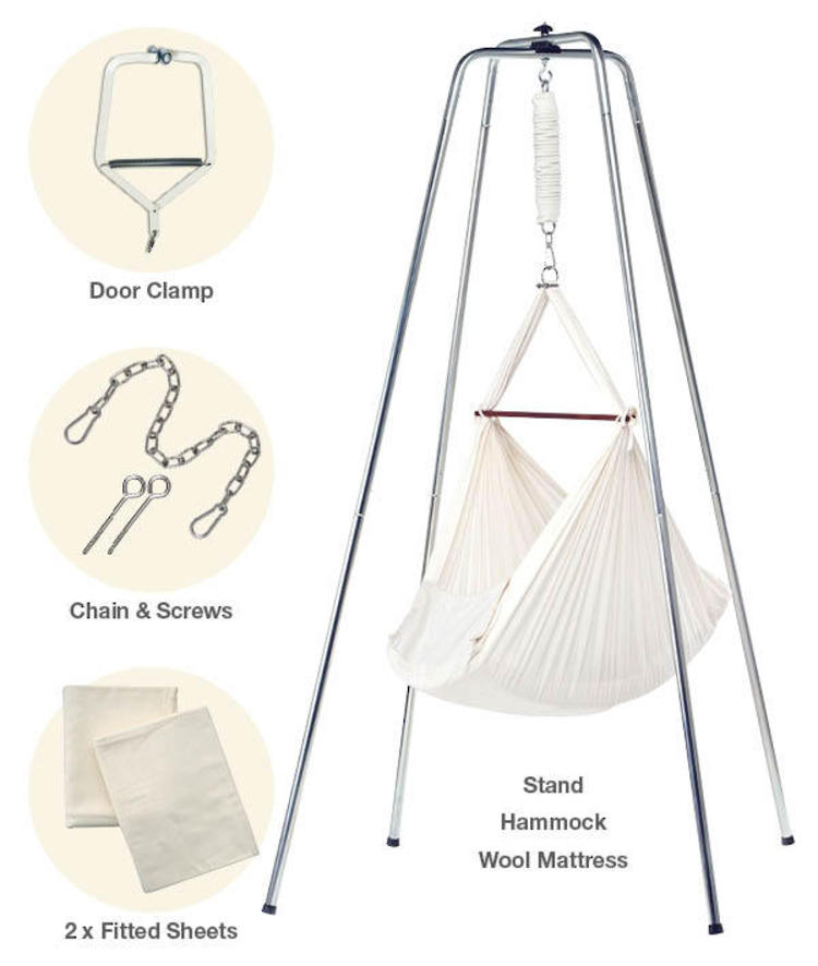 deluxe natures sway hammock  u0026 stand package 55  hemp 45  organic cotton natures sway baby hammock   cotton calico   unbleached cotton gold      rh   e oon co nz