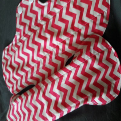 reusable menstrual cloth pad heavy/long pink zigzag