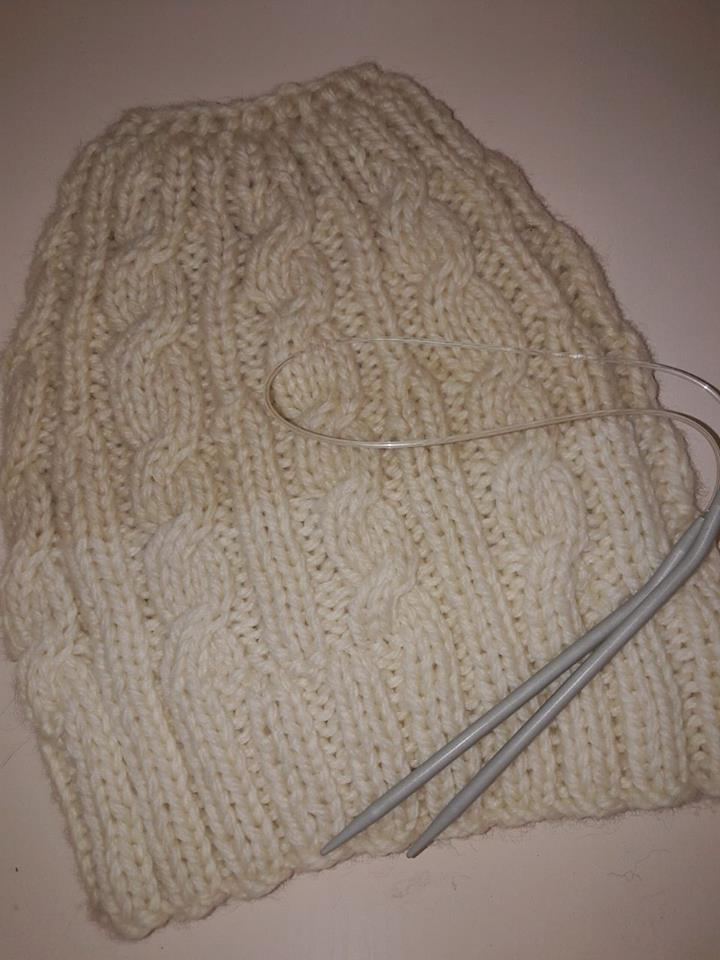 Ponytail beanie or bun beanie handknitted pure wool 6f9049e213e
